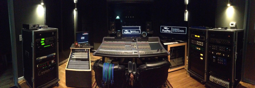 Studio A Control Room Panorama at Post Pro in Raleigh, NC